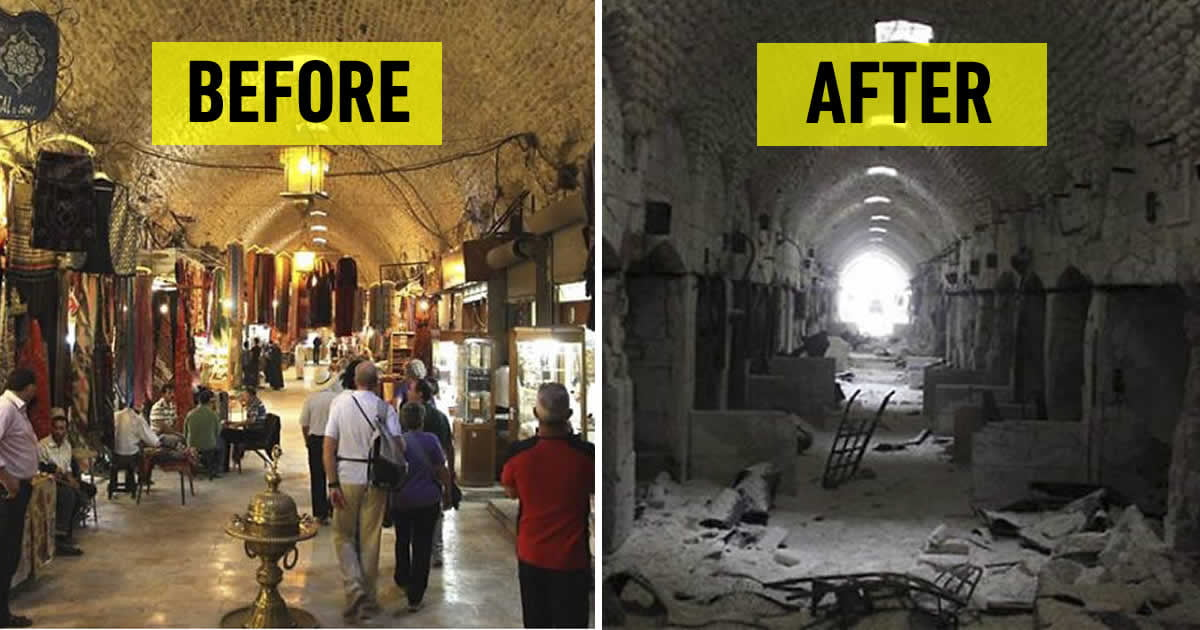 30 before amp after pics of aleppo reveal what war did to