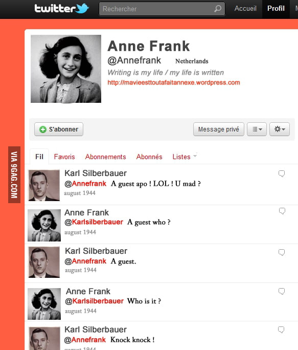 Anne Frank's Twitter (read from bottom to top)