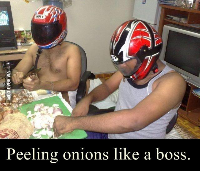 Peeling onions .