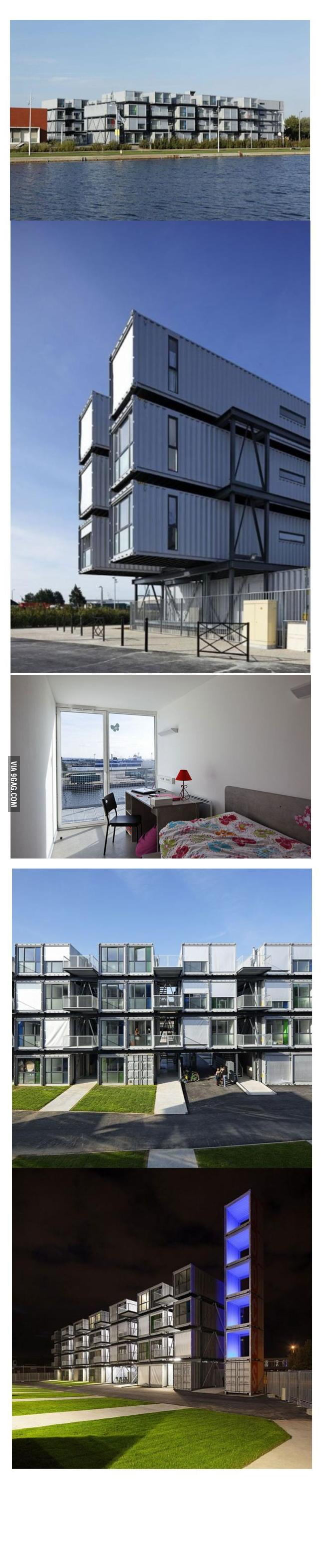 French student dorm rooms made from shipping containers for Architecture students 9gag