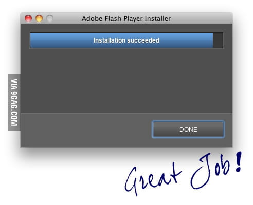 Installation of Adobe Flash Player: DONE