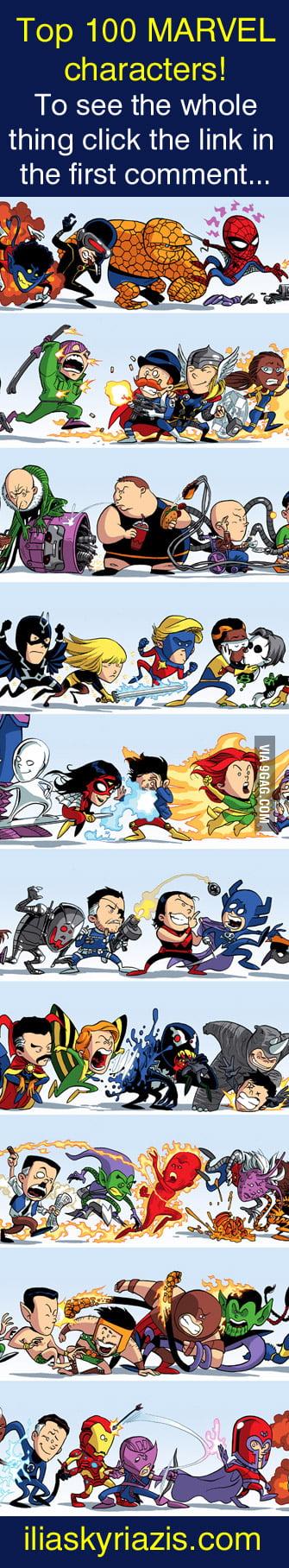 100 marvel heroes