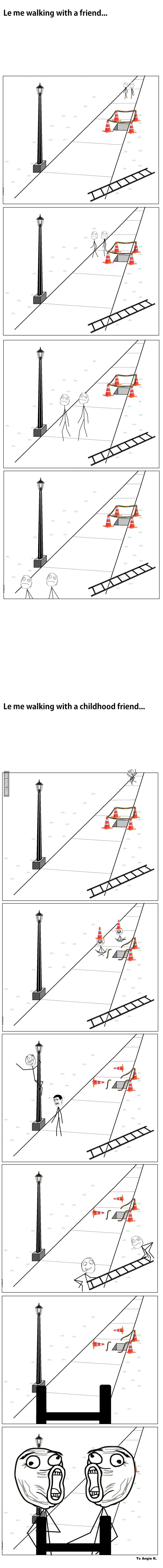Just walking with different people