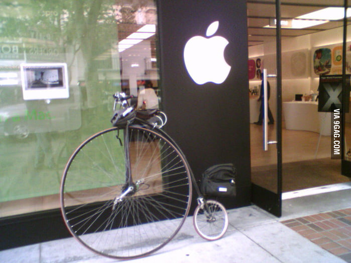 Saw a hipster bike outside the Apple Store.