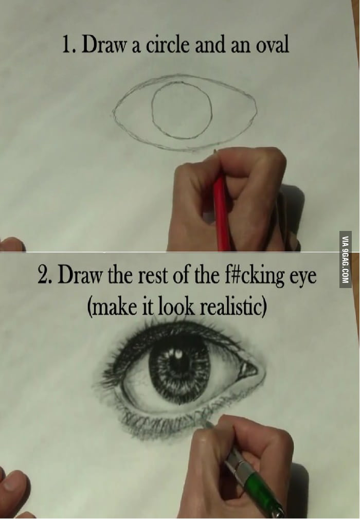 How to draw a 'Realistic Eye' (in 2 steps)