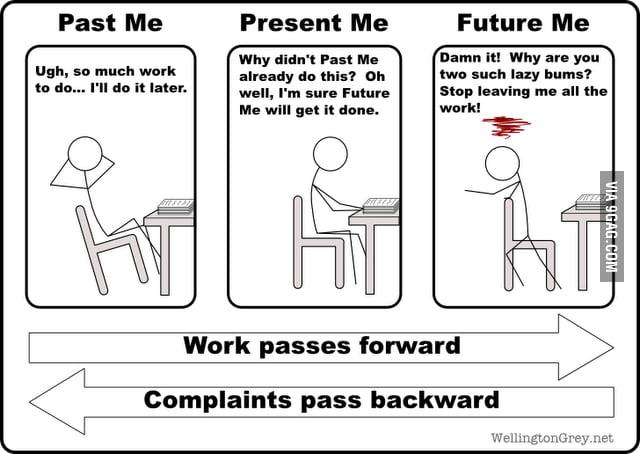 Past vs. Present vs. Future me