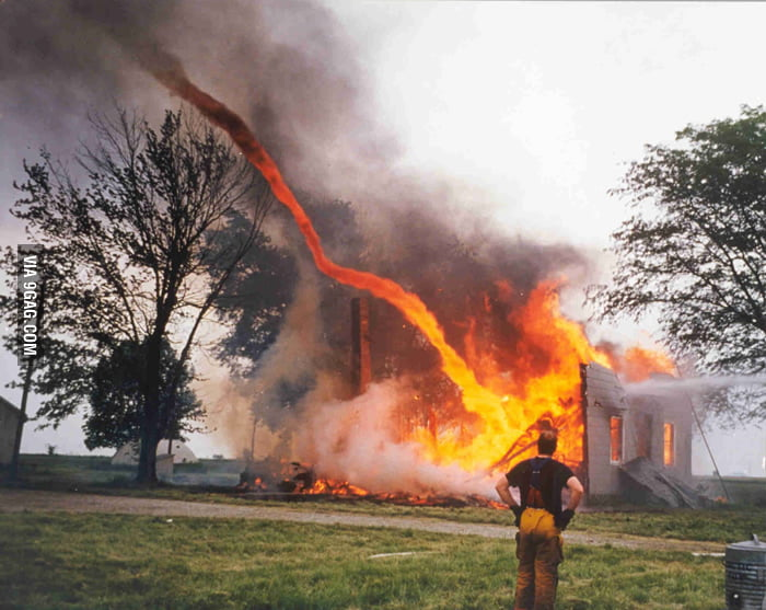 Fire sucked by tornado