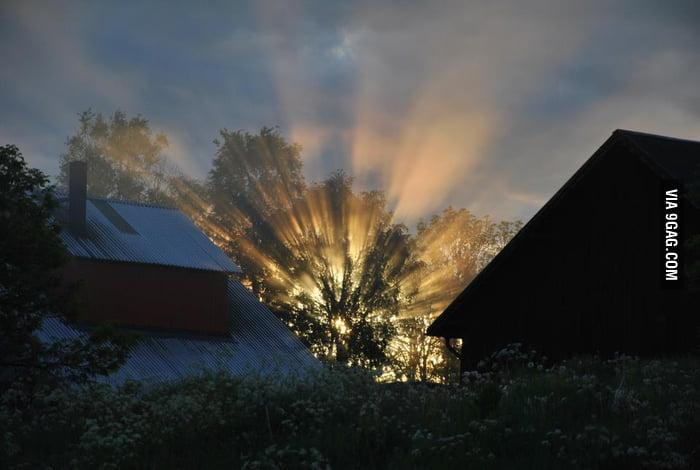 The sun through a house in Sweden...