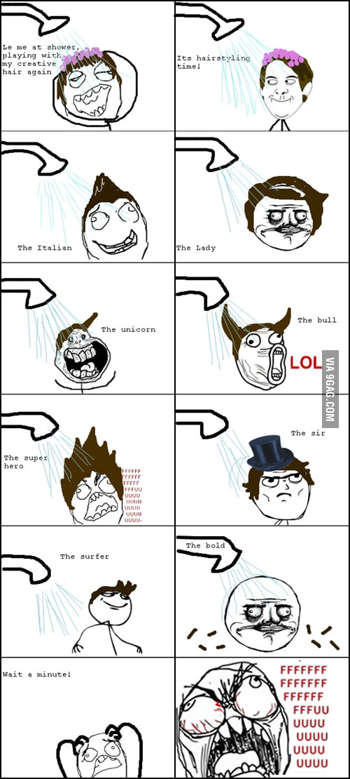 Playing with hair in the shower