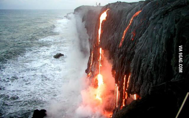 Volcanic lightning? try lava waterfall