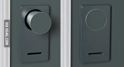 When this door is locked the doorknob disappears