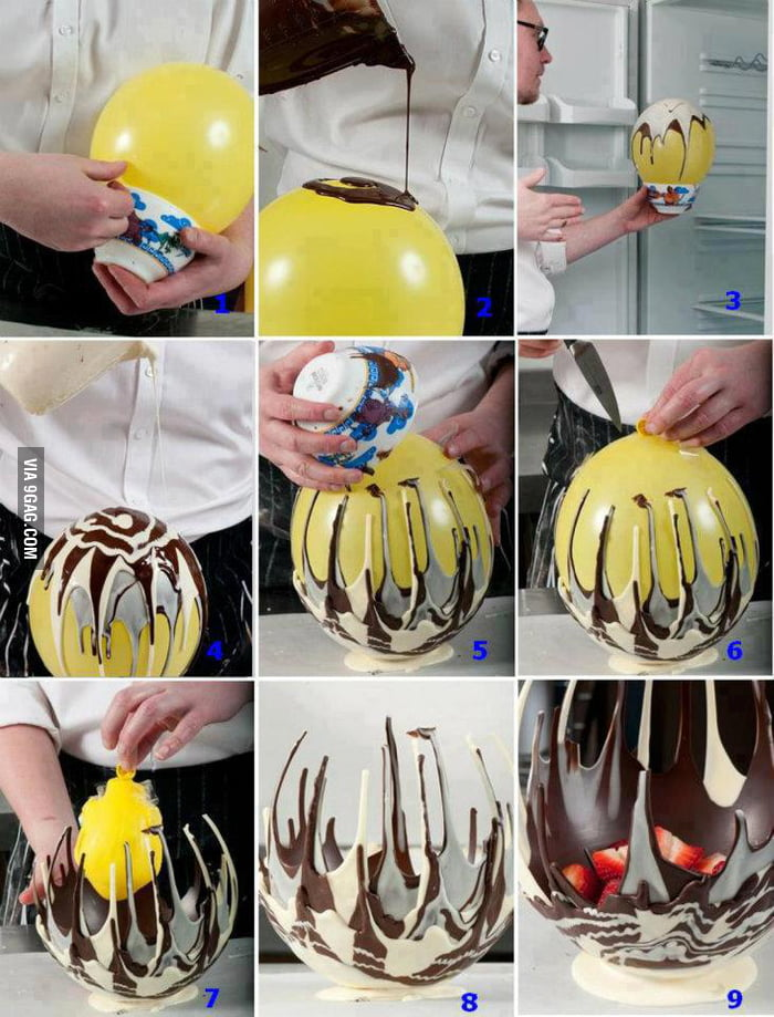 Make a chocolate bowl with a balloon
