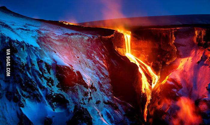 Volcano Fimmvörðuháls, Iceland.