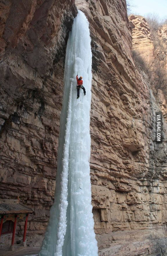 Climbing a frozen waterfall in China