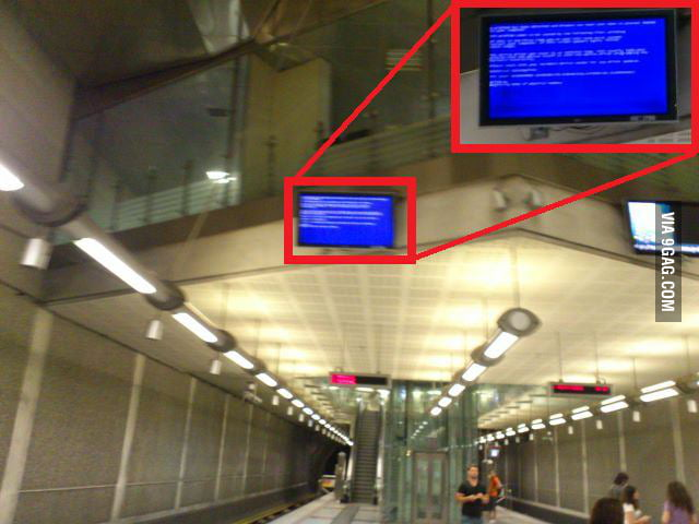 The Blue Screen of Death in Athens Metro..