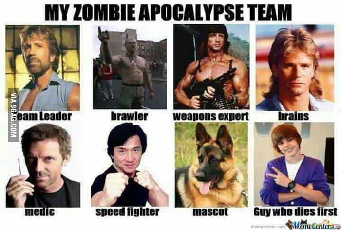 Best zombie apocalypse team  t('o't)......