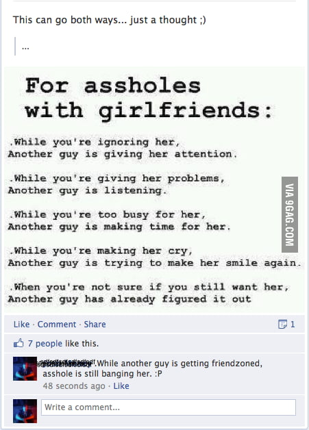 For a**holes with girlfriends