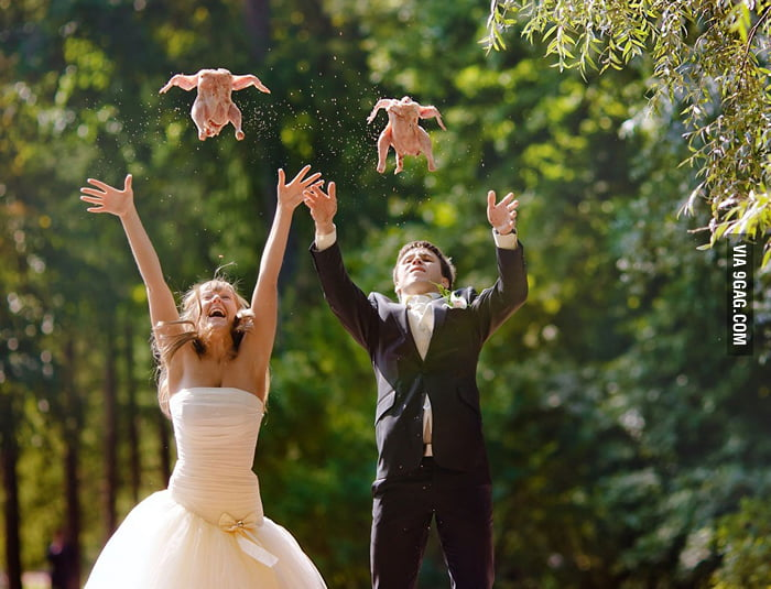 They don't have doves for their wedding but...