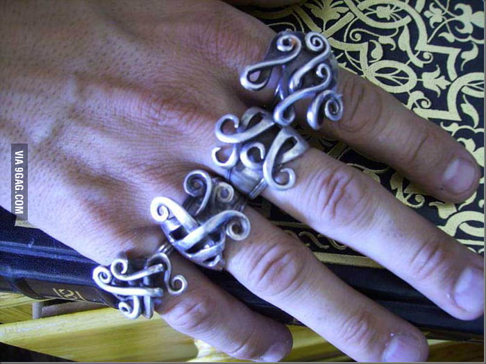 Silver forks smithed into rings