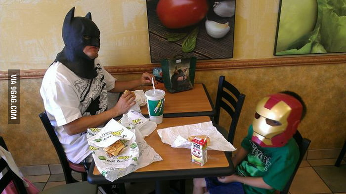 My friend's son wanted to ''Dress Up'' for lunch.
