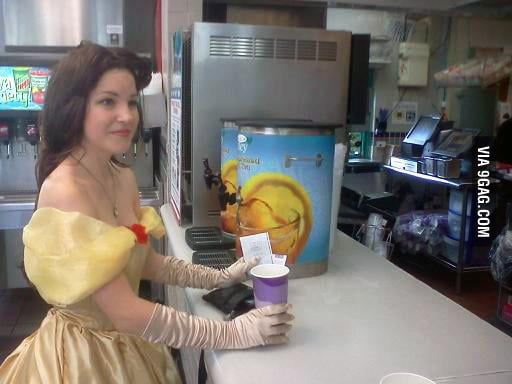 At a Taco bell WHEN SUDDENLY! Taco....Belle?