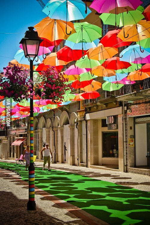 Umbrella Sky in Águed, Portugual