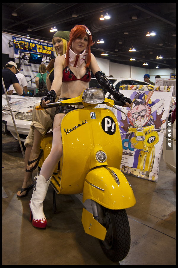 Yoko and Winry stealing Haruko's moped