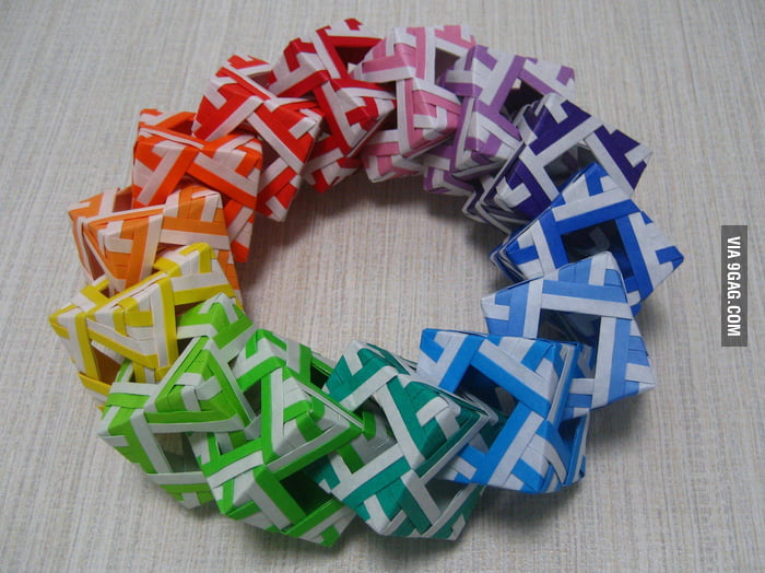 Origami Cube Wreath