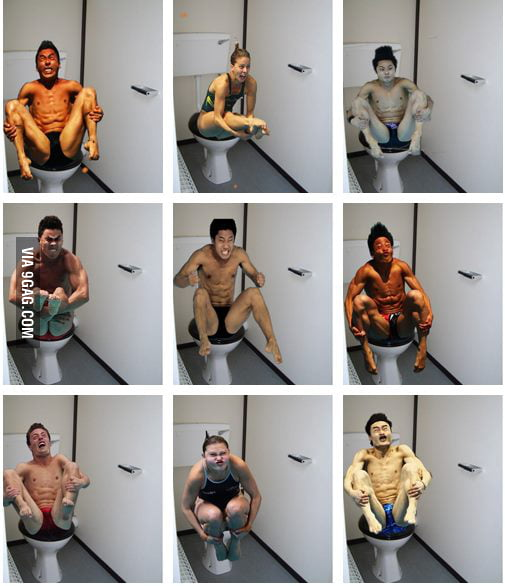 Olympic divers on the toilets