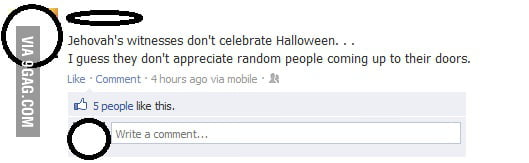 Why Jehovah's witnesses don't celebrate Halloween.