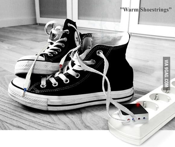Warm your feet with chargeable shoestrings in cold winter