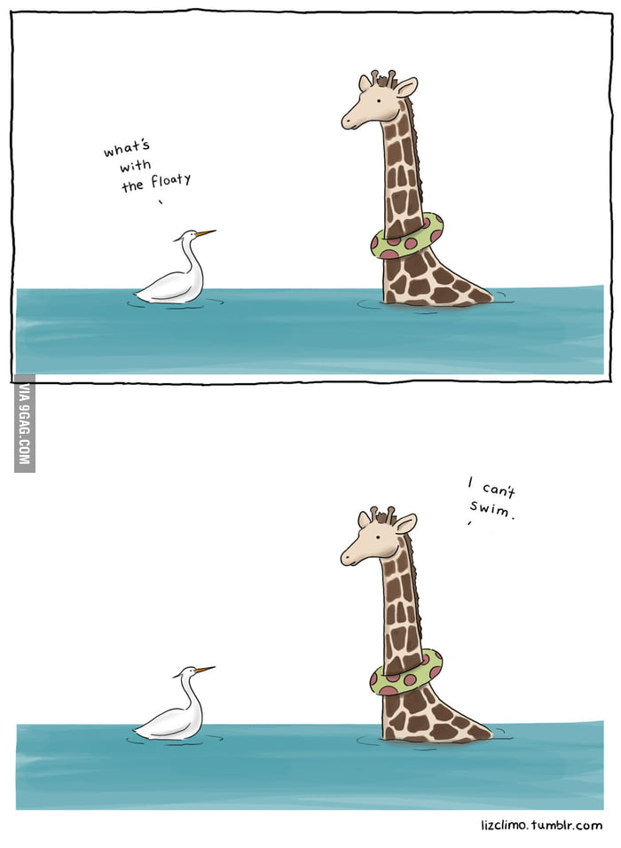 Sometimes giraffes can't swim
