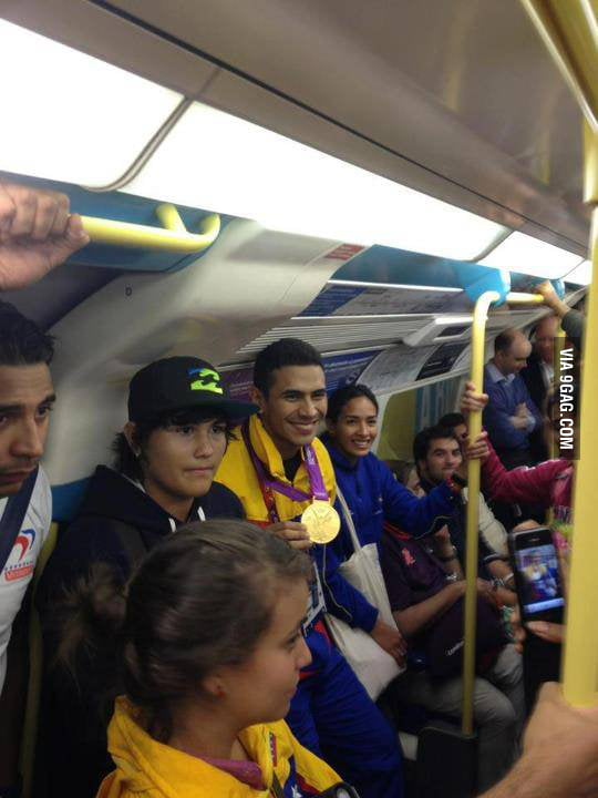 Saw him showed off his gold medal on the Lond