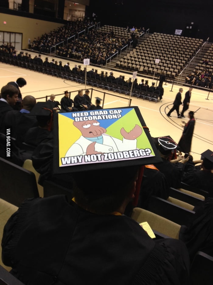 How someone decorated their hat at my friends graduation