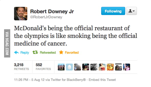 Robert Downey tweets about the Olympics