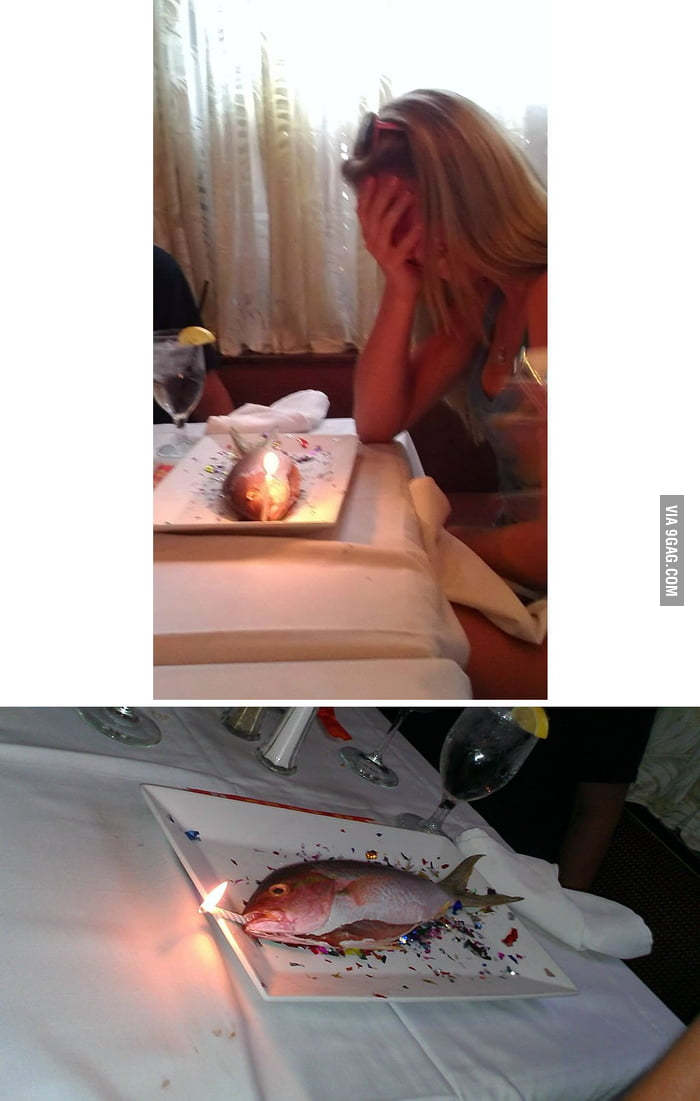 "The ""cake"" the restaurant gave my friend for her"