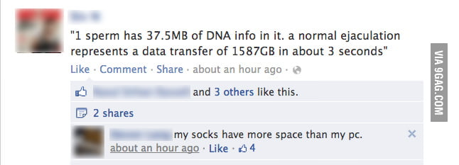1 sperm has 37.5MB of DNA info in it...