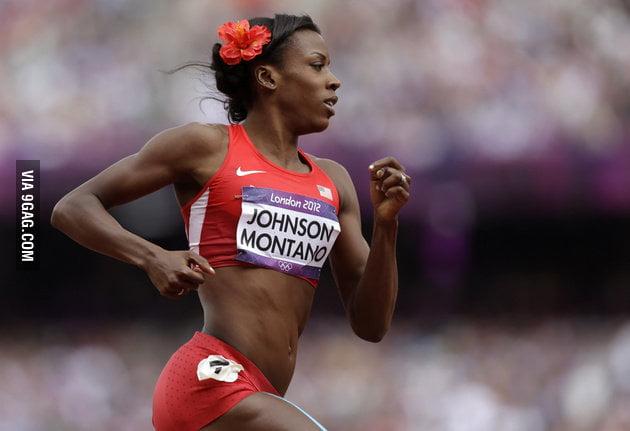 Running like a girl: she wears a flower in her hair fo