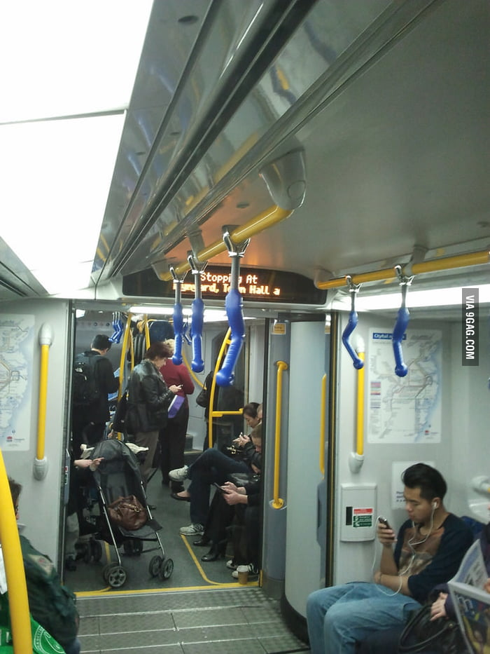 There were new straps on the train today
