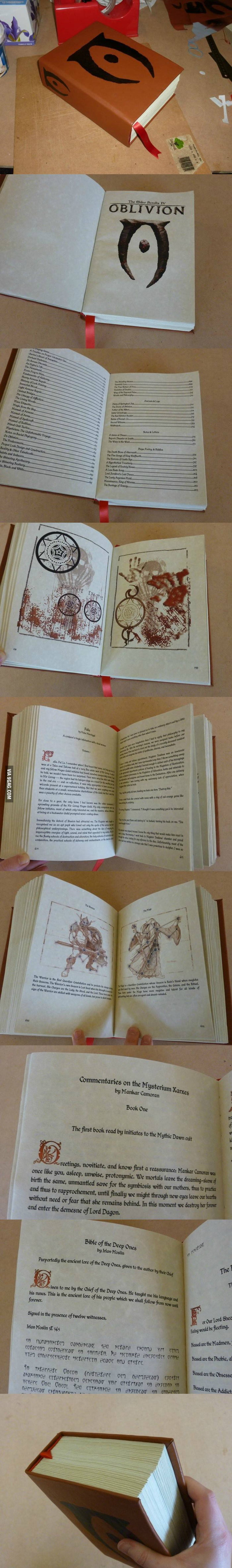 Amazing handmade tome filled with the text of Oblivion.