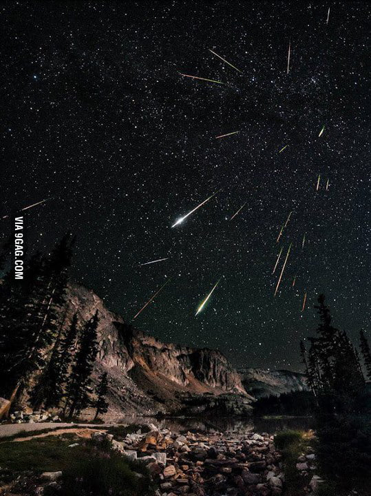 2012 Perseids Meteor Shower over the snowy range in Wyoming