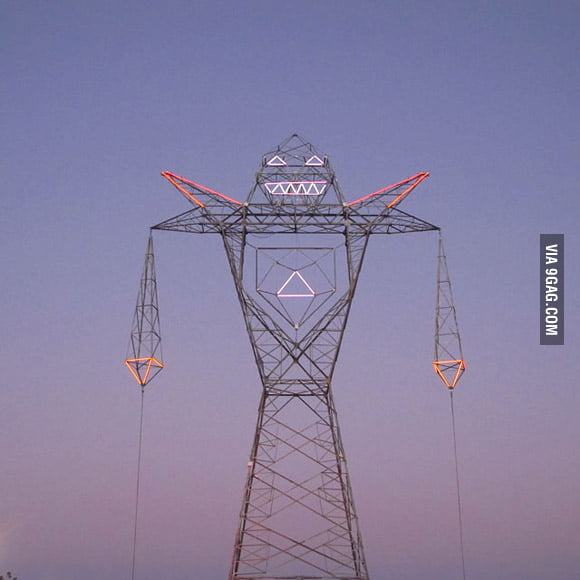 Electrical tower that looks like a giant robot