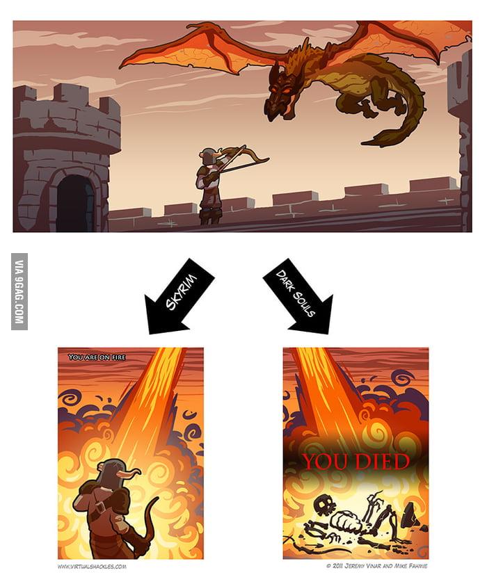Fighting a dragon: Skyrim vs Dark Souls