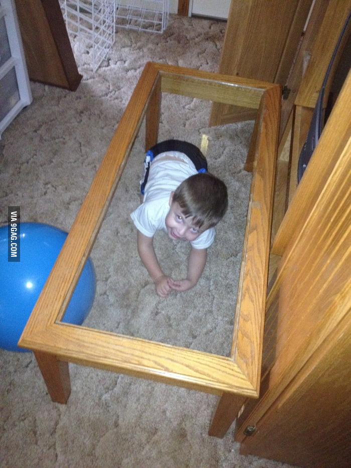 Playing hide and seek and this is where he hides...