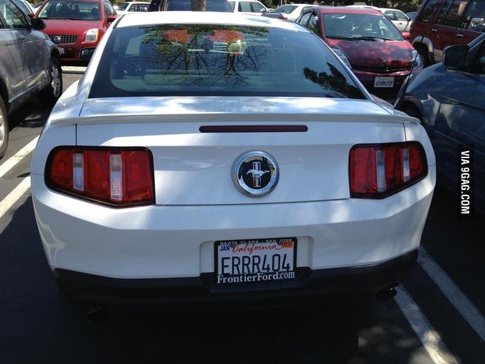This car license plate has Error 404.