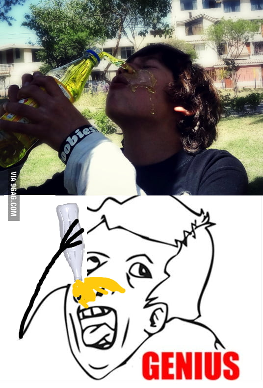 Because drinking by the mouth is too mainstream...