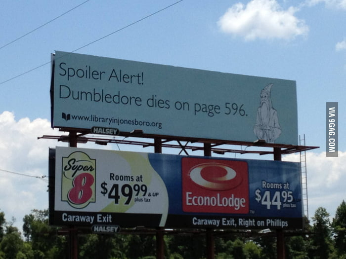 "Harry Potter ""Spoiler Alert"" troll billboard"