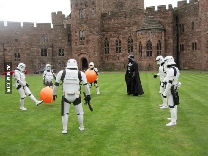 Darth Vader and Stormtrooper playing balls....
