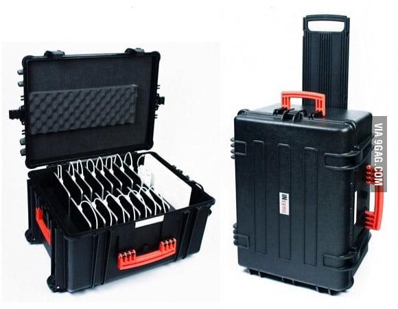 This suitcase charges 16 iPads at once