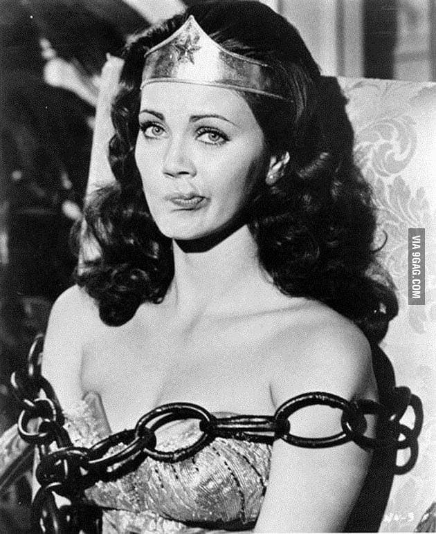 Wonder Woman (Lynda Carter) is not impressed...